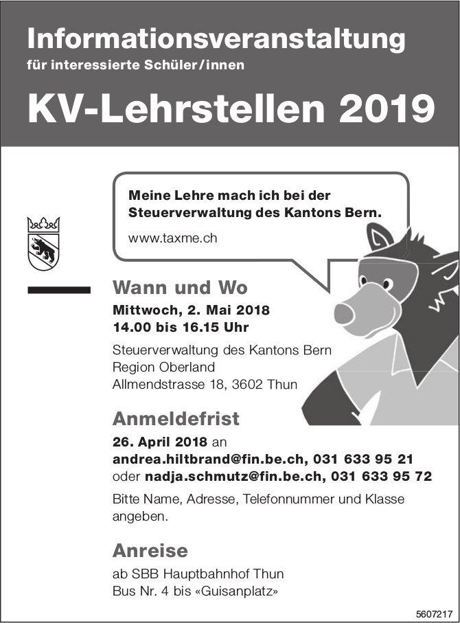 Informationsveranstaltung KV-Lehrstellen 2019, 2. Mai, Thun