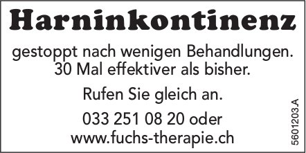Harninkontinenz gestoppt nach wenigen Behandlungen