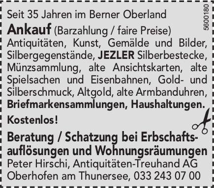 Peter Hirschi, Antiquitäten-Treuhand AG - Beratung bei Erbschaftsauflösungen