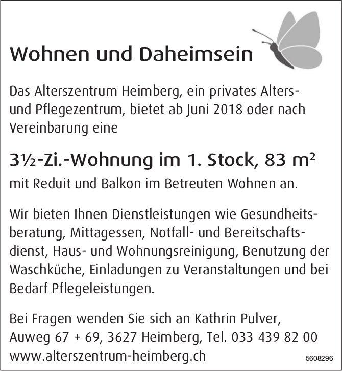 3½-Zi.-Wohnung im 1. Stock, 83 m2 im Alterszentrum Heimberg zu vermieten