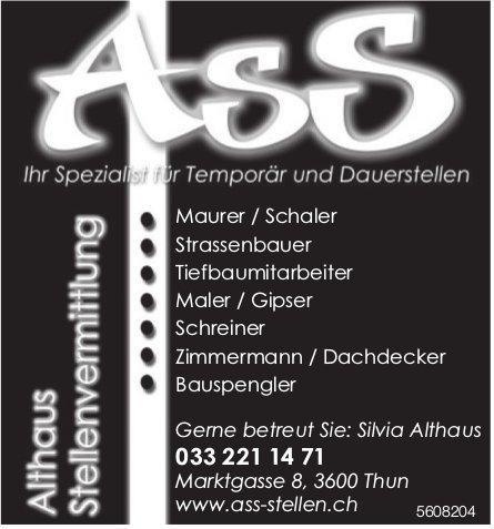 ASS Althaus Stellenvermittlung - Ihr Spezialist für Temporär und Dauerstellen