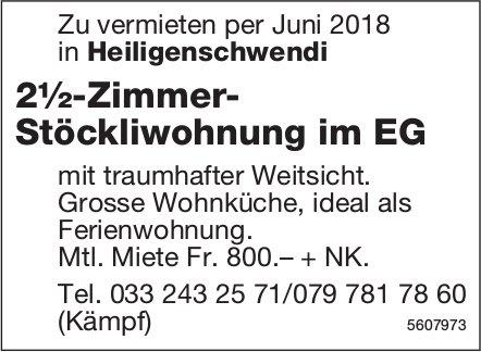2½-Zimmer- Stöckliwohnung im EG in Heiligenschwendi zu vermieten