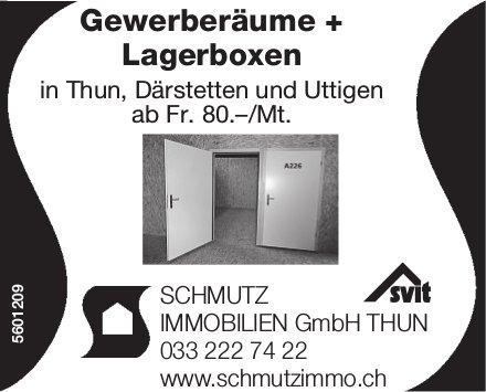 Gewerberäume + Lagerboxen in Thun, Därstetten und Uttigen ab Fr. 80.–/Mt.