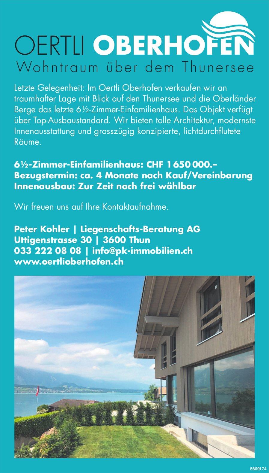 6.5-Zimmer-Einfamilienhaus im Oertli Oberhofen zu verkaufen