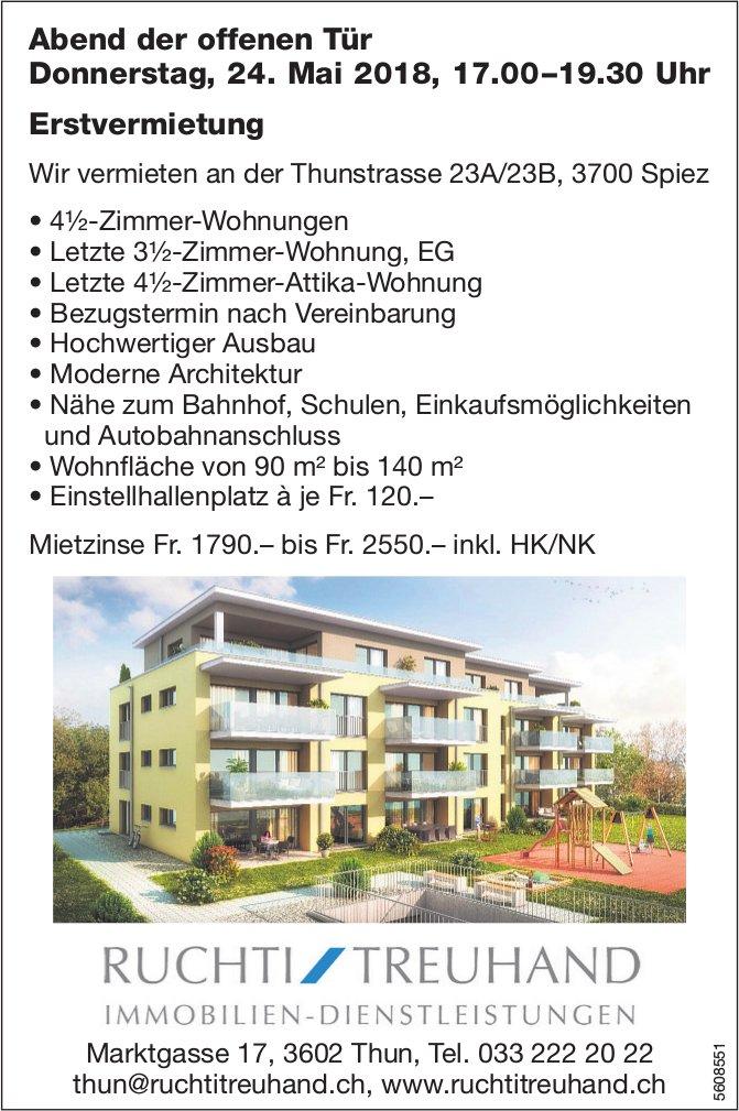 Erstvermietung Wohnungen in Spiez: Abend der offenen Tür am 24. Mai