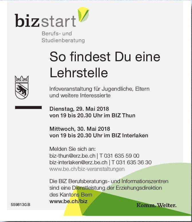 BIZstart - So findest Du eine Lehrstelle: Infoveranstaltung am 29. + 30. Mai