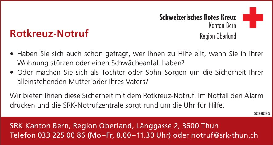 Rotkreuz-Notruf - Schweizerisches Rotes Kreuz, Kanton Bern Region Oberland