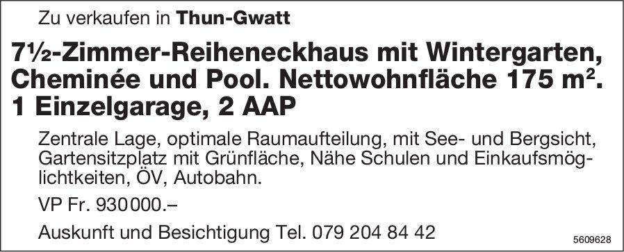 7.5-Zimmer-Reiheneckhaus in Thun-Gwatt zu verkaufen