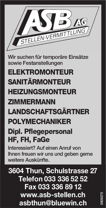 ASB AG, Stellen-Vermittlung, Thun