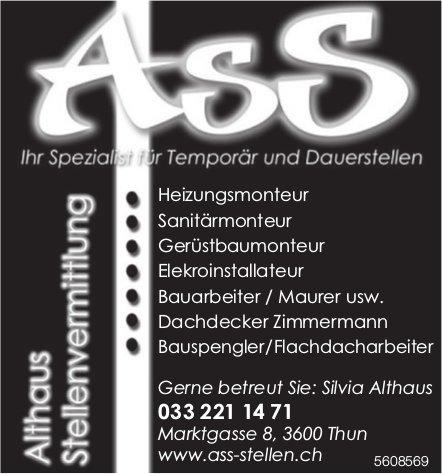 Althaus Stellenvermittlung, Thun - Ihr Spezialist Temporär und Dauerstellen