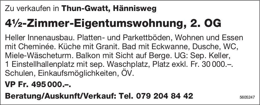 4½-Zimmer-Eigentumswohnung, 2. OG Zu verkaufen in Thun-Gwatt zu verkaufen