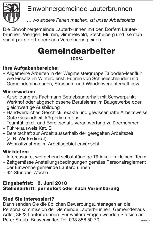 Gemeindearbeiter, Einwohnergemeinde Lauterbrunnen, gesucht