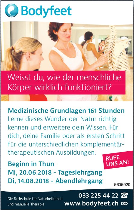 Bodyfeet - Medizinische Grundlagen 161 Stunden: Beginn in Thun am 20. Juni