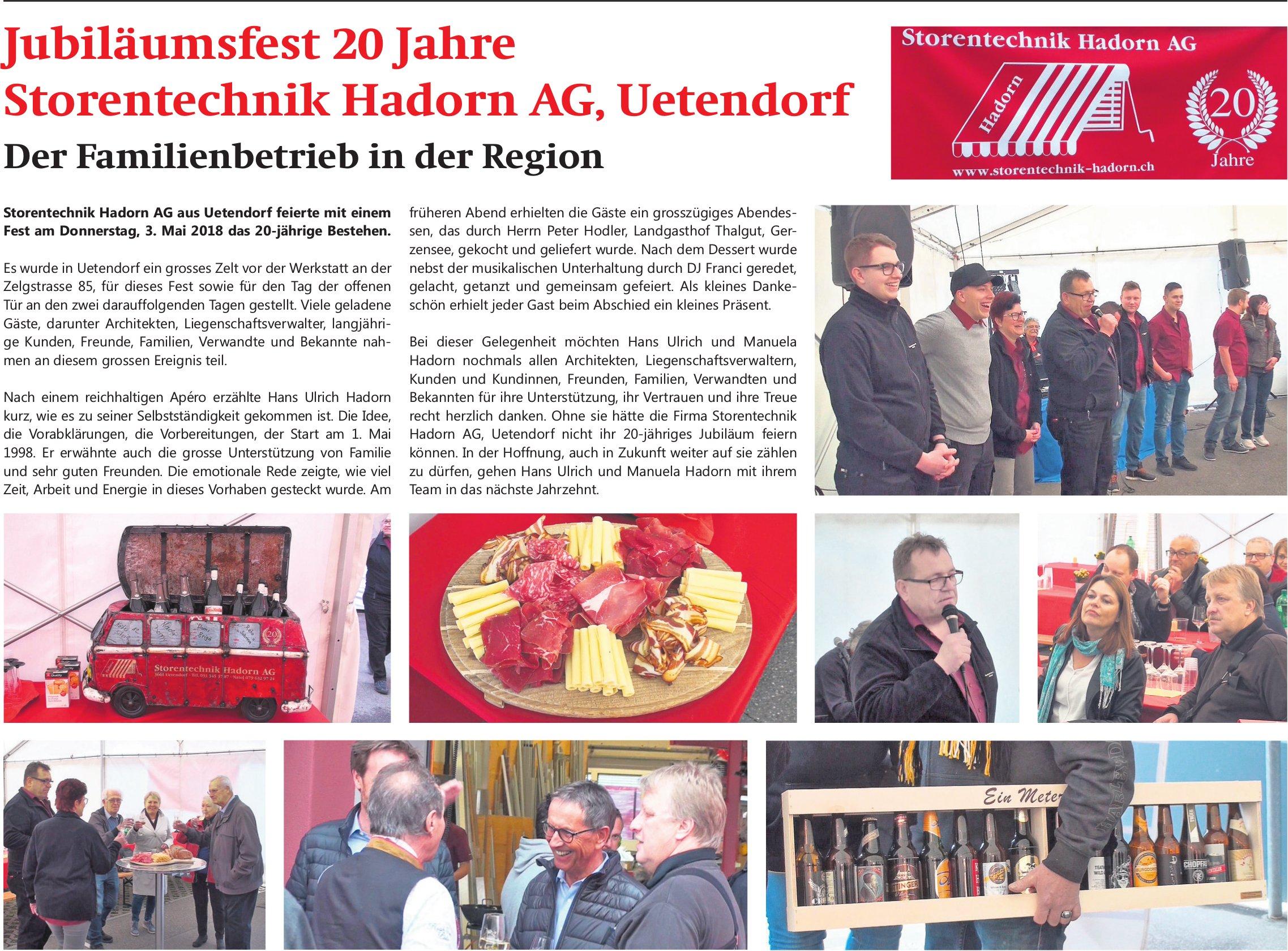 Jubiläumsfest 20 Jahre Storentechnik Hadorn AG, Uetendorf