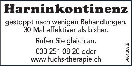 Harninkontinenz gestoppt nach wenigen Behandlungen.