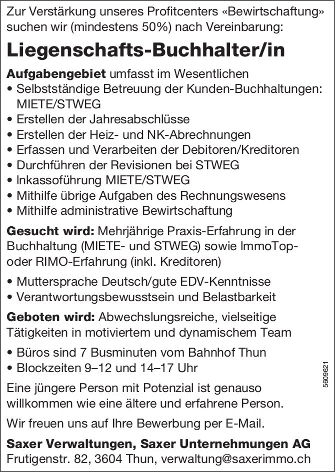 Liegenschafts-Buchhalter/in, Saxer Unternehmungen AG, Thun, gesucht