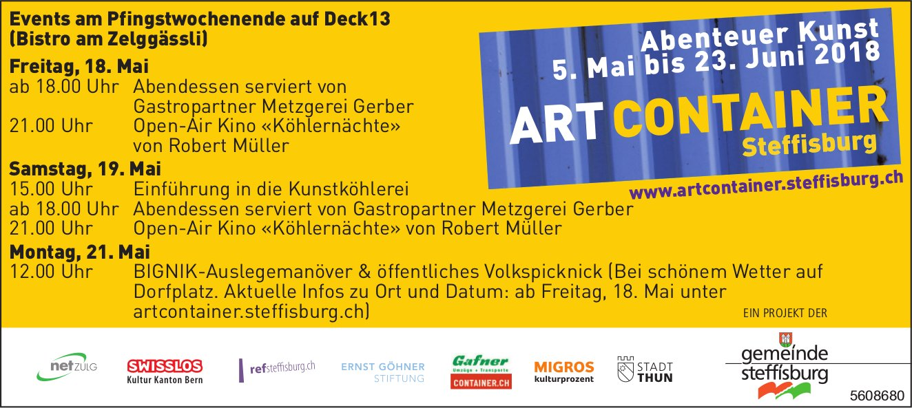 Art Container Steffisburg - Events am Pfingstwochenende auf Deck13