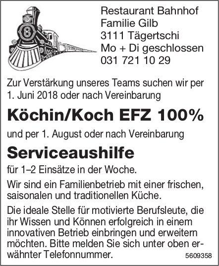 Köchin/Koch EFZ & Serviceaushilfe, Restaurant Bahnhof, Tägertschi, gesucht