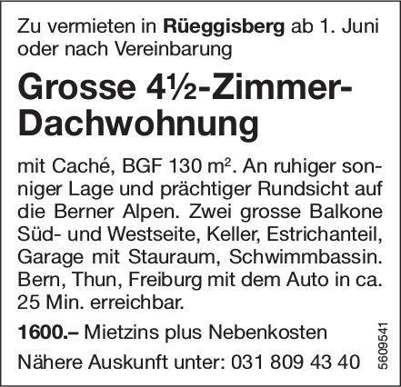 Grosse 4½-Zimmer-Dachwohnung in Rüeggisberg zu vermieten