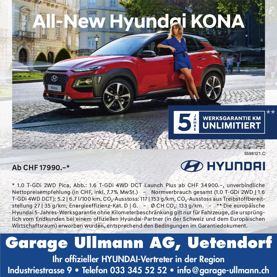 Garage Ullmann AG, Uetendorf - All-New Hyundai KONA