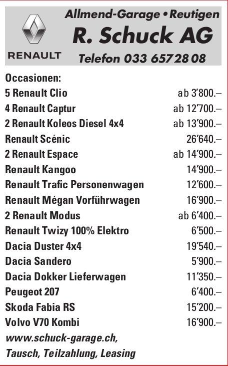 R. Schuck AG Allmend-Garage, Reutigen - Occasionen-Markt