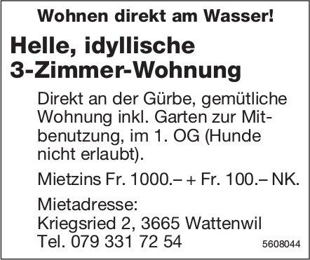 Helle, idyllische 3-Zimmer-Wohnung in Wattenwil zu vermieten
