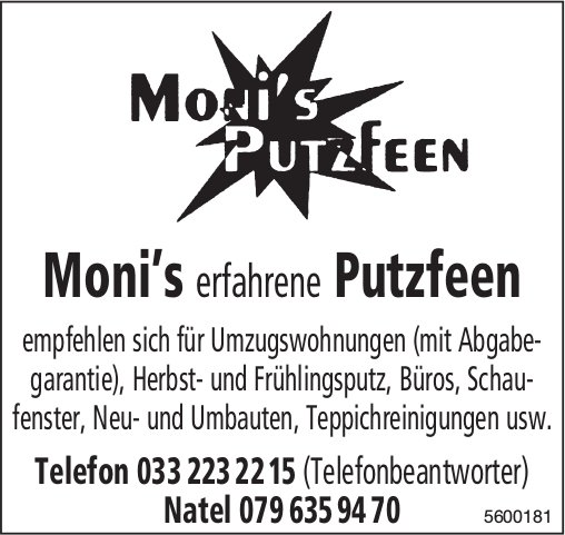 Moni's Putzfeen empfehlen sich für Umzugswohnungen (mit Abgabegarantie)