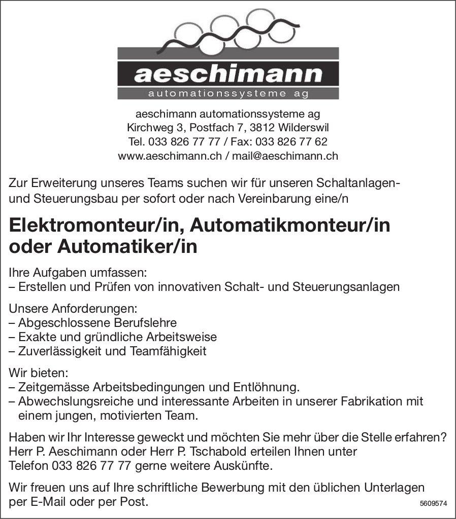 Elektromonteur/in, Automatikmonteur/in / Automatiker/in, Aeschimann Automationssysteme AG, gesucht