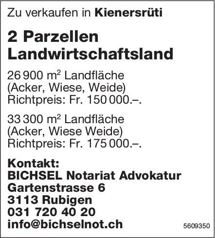 2 Parzellen Landwirtschaftsland in Kienersrüti zu verkaufen