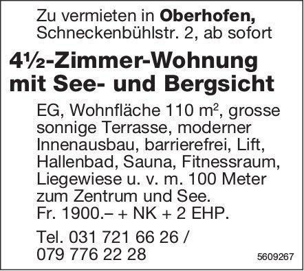 4½-Zimmer-Wohnung mit See- und Bergsicht in Oberhofen zu vermieten