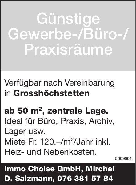 Günstige Gewerbe-/Büro-/Praxisräume in Grosshöchstetten zu vermieten