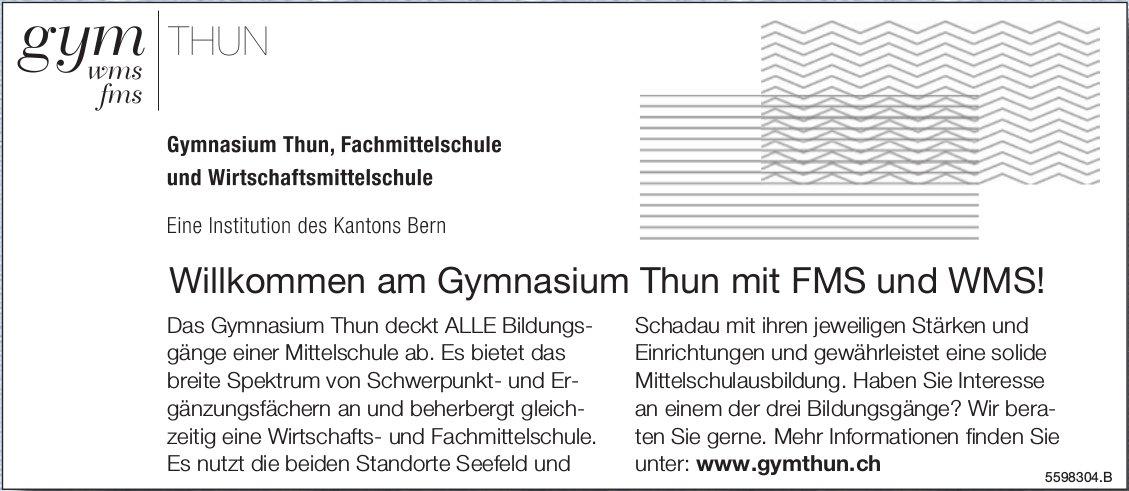 Willkommen am Gymnasium Thun mit FMS und WMS!