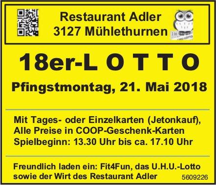 Restaurant Adler, Mühlethurnen - 18er-Lotto am Pfingstmontag, 21. Mai