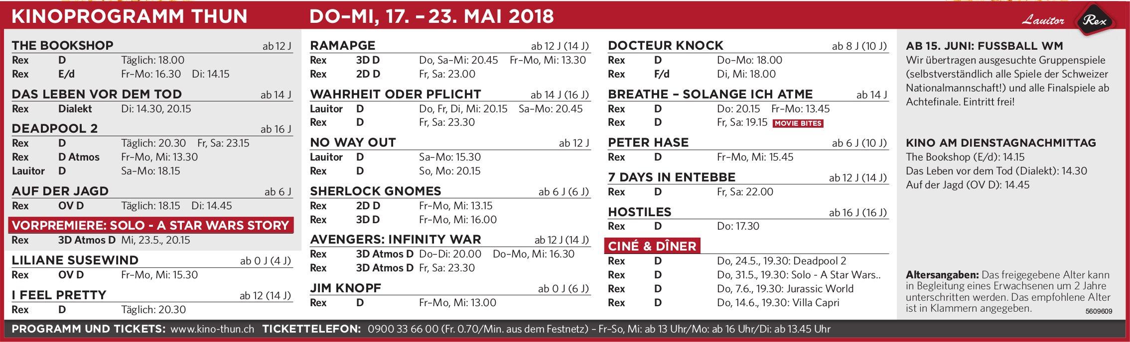 Kinoprogramm Thun, 17. - 23. Mai