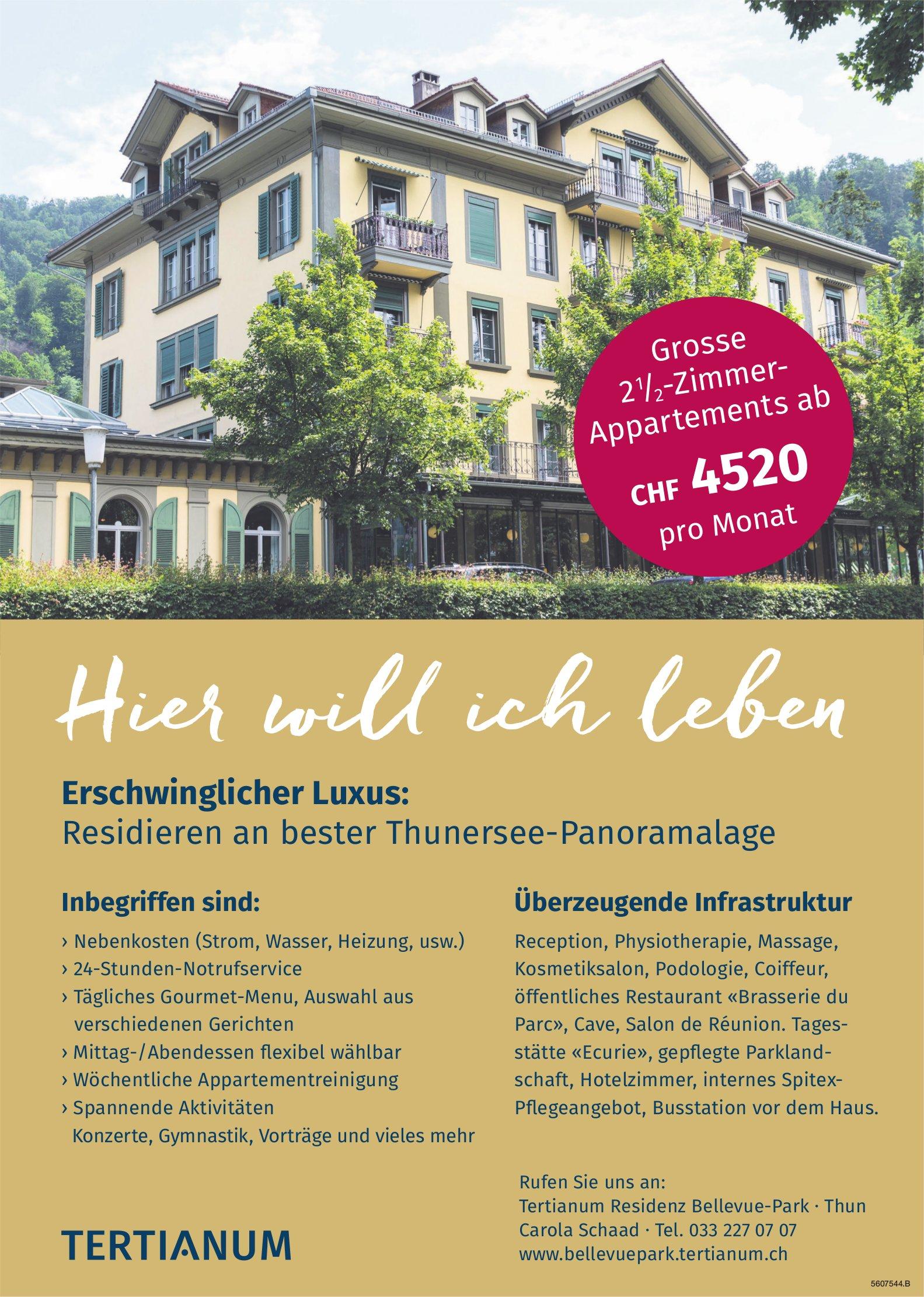 2.5-Zimmer-Appartements im Tertianum Residenz Bellevue-Park, Thun, zu vermieten