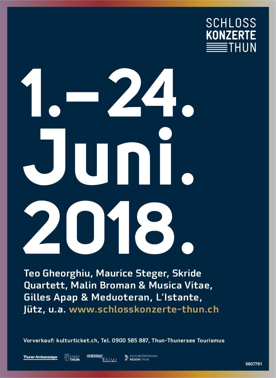 Schlosskonzerte Thun - Programm vom 1. bis 24. Juni