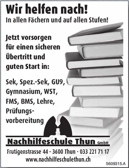 Nachhilfeschule Thun GmbH - Wir helfen nach! In allen Fächern und auf allen Stufen!