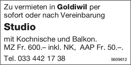 Studio in Goldiwil zu vermieten