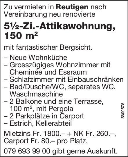 5½-Zi.-Attikawohnung, 150 m2, in Reutigen zu vermieten