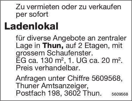 Ladenlokal für diverse Angebote an zentraler Lage in Thun zu vermieten oder zu verkaufen