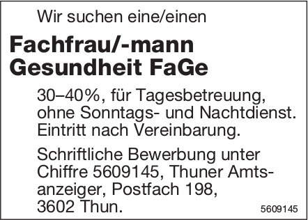 Fachfrau/-mann Gesundheit FaGe, gesucht