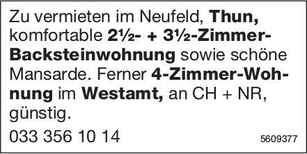 2½- + 3½-Zimmer-Backsteinwohnung in Thun + 4-Zimmer-Wohnung im Westamt zu vermieten
