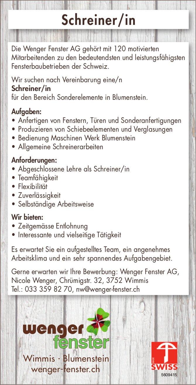 Schreiner/in, Wenger Fenster, Wimmis & Blumenstein, gesucht