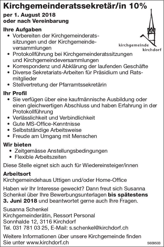 Kirchgemeinderatssekretär/in, Kirchdorf, gesucht