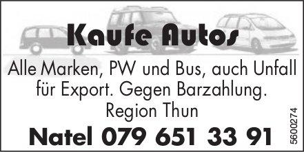 Kaufe Autos, alle Marken, PW und Bus, auch Unfall für Export