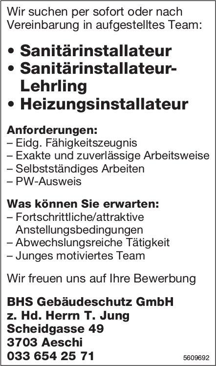 Sanitärinstallateur, Heizungsinstallateur, BHS Gebäudeschutz GmbH, Aeschi, gesucht & Lehrstelle frei