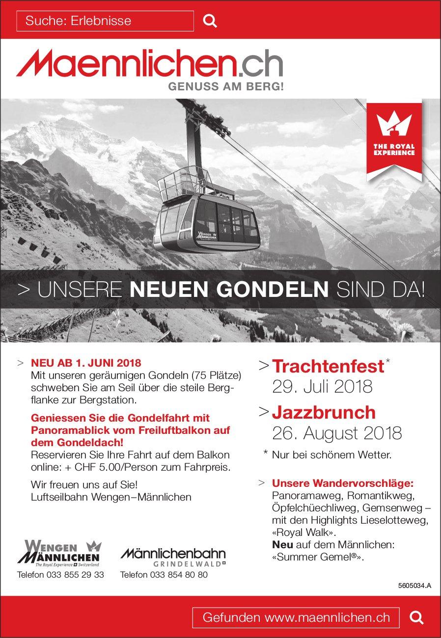 Männlichenbahn - Unsere neuen Gondeln sind da! Programm & Events ab 1. Juni