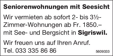 2- bis 3.5-Zi.-Seniorenwohnungen mit Seesicht in Sigriswil zu vermieten