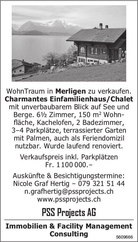 Charmantes Einfamilienhaus/Chalet WohnTraum in Merligen zu verkaufen.