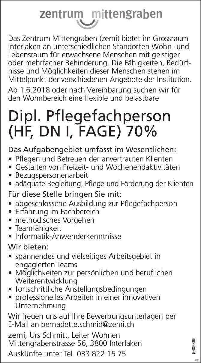 Dipl. Pflegefachperson (HF, DN I, FAGE), Zentrum Mittengraben, Interlaken, gesucht